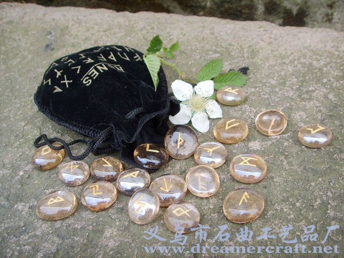 Golden Quartz Rune Stones